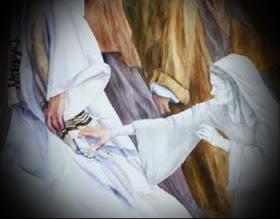 Woman touching Jesus hem b