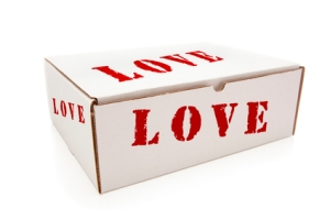 White Box with the Word Love on the Sides Isolated on a White Background.